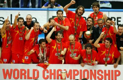 SAITAMA, JAPAN - SEPTEMBER 3: Spain celebrates against Greece during the 2006 FIBA World Championship Final Round on September 3, 2006 at the Saitama Super Arena in Saitama, Japan. Spain defeated Greece 70-47 to win the championship. NOTE TO USER: User expressly acknowledges and agrees that, by downloading and/or using this Photograph, user is consenting to the terms and conditions of the Getty Images License Agreement. Mandatory Copyright Notice: Copyright 2006 NBAE (Photo by Jesse D. Garrabrant/NBAE via Getty Images)