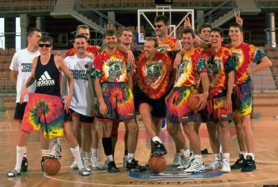 Basketball: European Olympic Qualifying Tournament: Portrait of Team Lithuania wearing tie dyed uniforms donated by the Grateful Dead during team photo shoot at CDM La Granadilla Pabellon. Badajoz, Spain 6/26/1992 CREDIT: Lou Capozzola (Photo by Lou Capozzola /Sports Illustrated/Getty Images) (Set Number: X43093 )