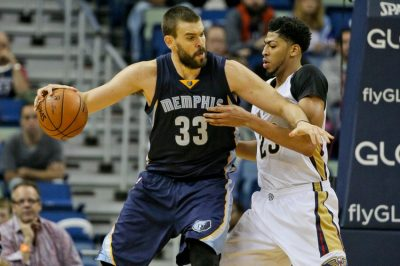 Dec 1, 2015; New Orleans, LA, USA; Memphis Grizzlies center Marc Gasol (33) is defended by New Orleans Pelicans forward Anthony Davis (23) during the second half of a game at the Smoothie King Center. The Grizzlies defeated the Pelicans 113-104. Mandatory Credit: Derick E. Hingle-USA TODAY Sports