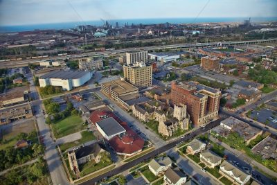 """Aerial photo of downtown Gary, Indiana."""