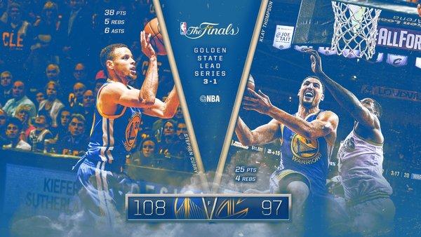 NBA finales: Los Warriors a base de triples se colocan a una victoria del título