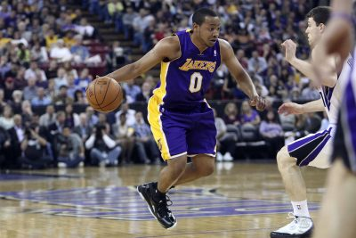 April 26, 2012; Sacramento, CA, USA; Los Angeles Lakers guard Andrew Goudelock (0) drives in against the Sacramento Kings during the second quarter at Power Balance Pavilion. Mandatory Credit: Kelley L Cox-US PRESSWIRE