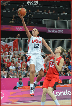 LONDON, ENGLAND - AUGUST 7: USA against Canada during their Basketball Game on Day 10 of the London 2012 Olympic Games at the Olympic Park Basketball Arena on August 7, 2012 in London, England. NOTE TO USER: User expressly acknowledges and agrees that, by downloading and/or using this Photograph, user is consenting to the terms and conditions of the Getty Images License Agreement. Mandatory Copyright Notice: Copyright 2012 NBAE (Photo by Jesse D. Garrabrant/NBAE via Getty Images)