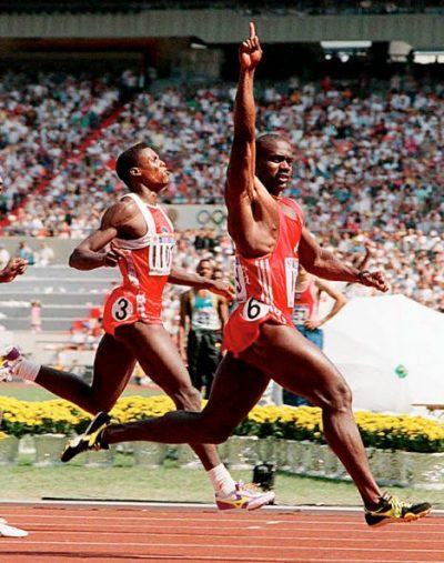 Ben Johnson. SEOUL, DEMOCRATIC PEOPLE'S REPUBLIC OF KOREA: Ben Johnson (R) of Canada crosses the finish line to win the Olympic 100 meter final in a world record 9.79 at the Olympic stadium 24 September 1988. At (L) US Carl Lewis took the second place. Johnson was later disqualified for failing to pass a drug test. (Photo credit should read ROMEO GACAD/AFP/Getty Images)PRI101C;KOREA-BENJOHNSON