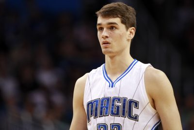 Oct 13, 2015; Orlando, FL, USA; Orlando Magic forward Mario Hezonja (23) looks on against the Miami Heat during the second half at Amway Center. Orlando Magic defeated the Miami Heat 95-92 in overtime. Mandatory Credit: Kim Klement-USA TODAY Sports